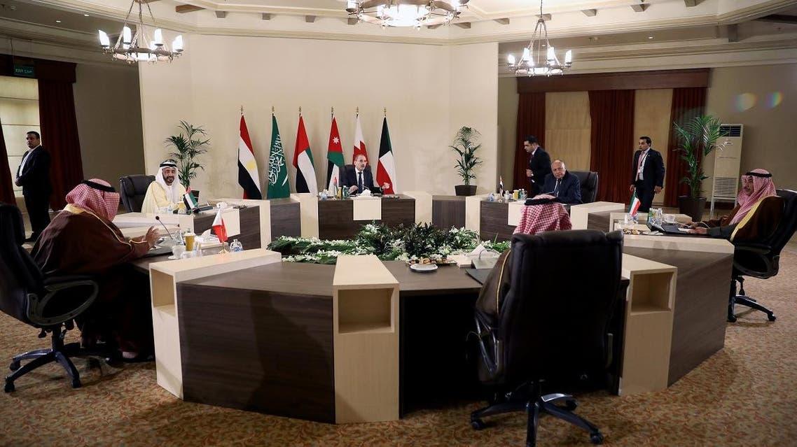 Arab foreign ministers meeting Jordan (Reuters)