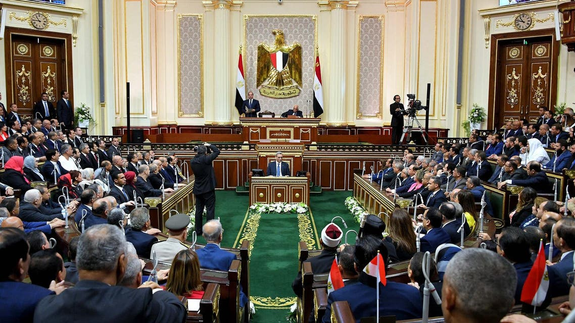 Egyptian President Abdel Fattah al-Sisi giving a speech on June 2, 2018 during his swearing in ceremony for a second four-year term in office, at the parliament meeting hall in Cairo. (AFP)