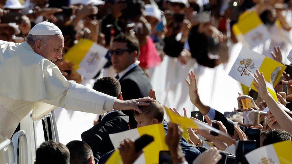 Pope Francis arrives in the Sheikh Zayed Sports City Stadium to celebrate mass in Abu Dhabi on Tuesday, Febraury 5, 2019. (AP)