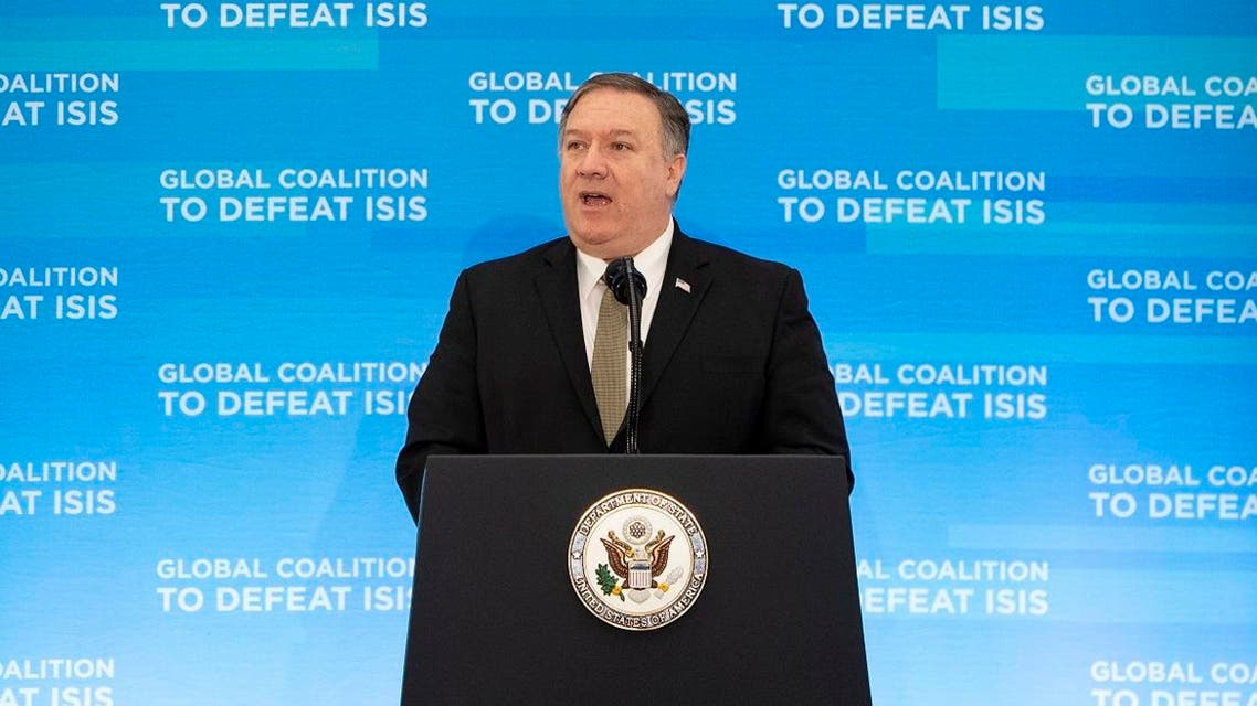 US Secretary of State Mike Pompeo delivers opening remarks at the Meeting of the Ministers of the Global Coalition to Defeat ISIS at the Department of State in Washington, DC. (AFP)