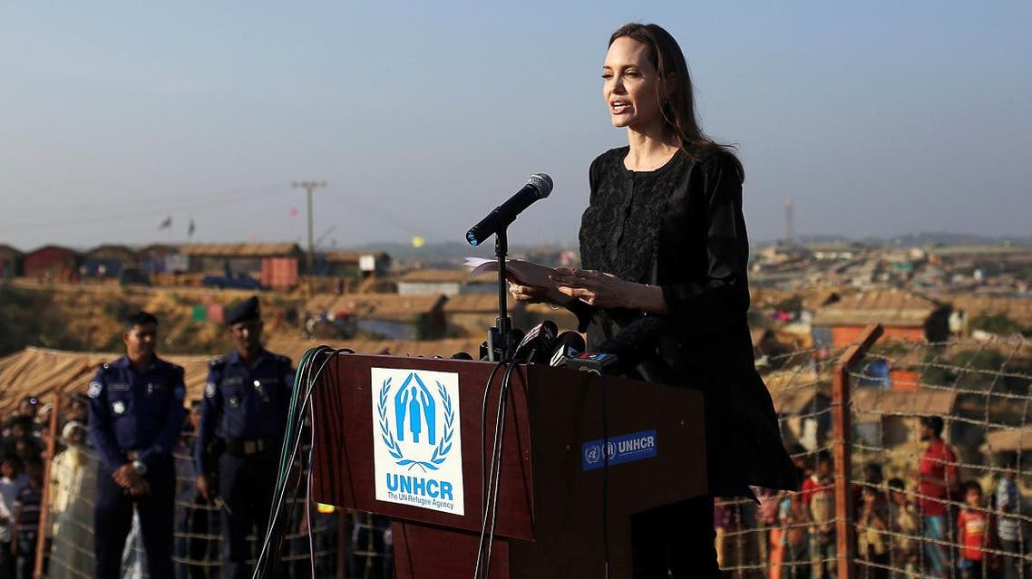 Actor Angelina Jolie joins in a press briefing as she visits Kutupalong Rohingya refugee camp in Cox's Bazar, Bangladesh, on February 5, 2019. (Reuters)