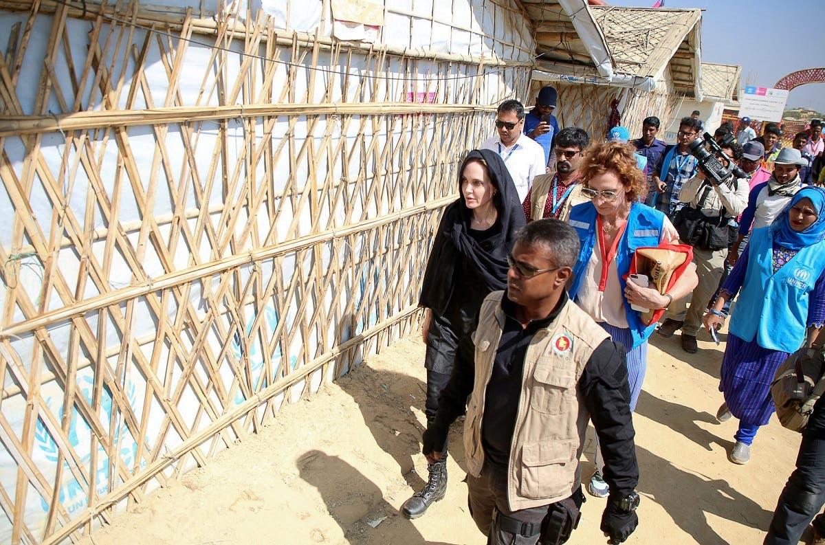 Angelina Jolie visits a Rohingya refugee camp in Cox's Bazar, Bangladesh, on February 5, 2019. (Reuters)