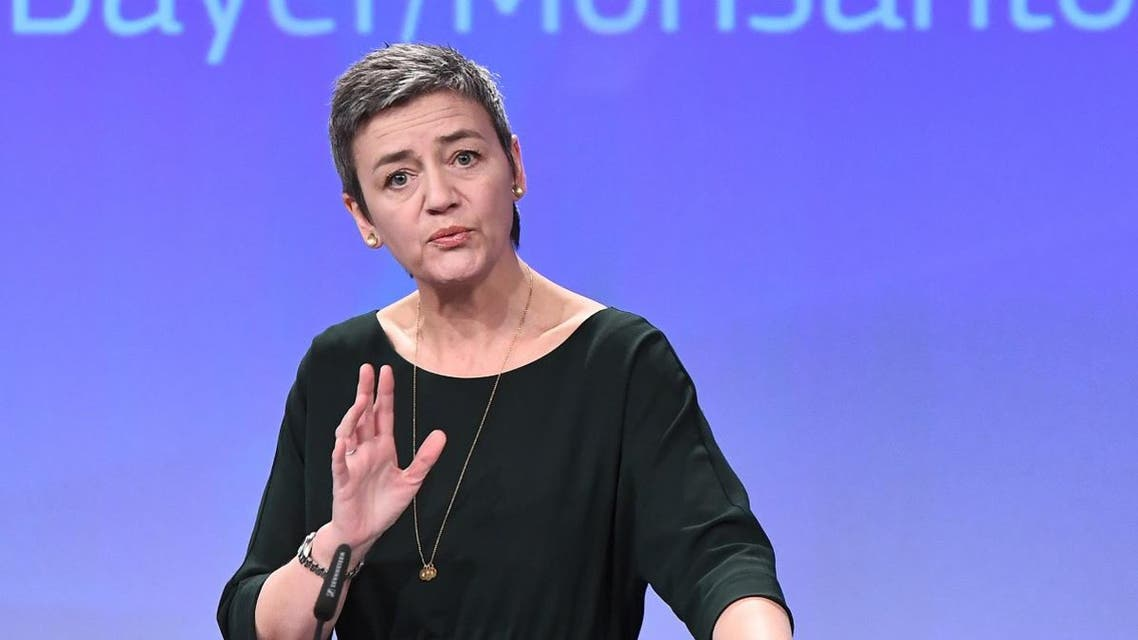 European Commissioner for competition Margrethe Vestager addresses a press conference focused on the proposed blockbuster buyout of US agri-giant Monsanto by German chemical firm Bayer, at the European Union in Brussels on March 21, 2018. (AFP)