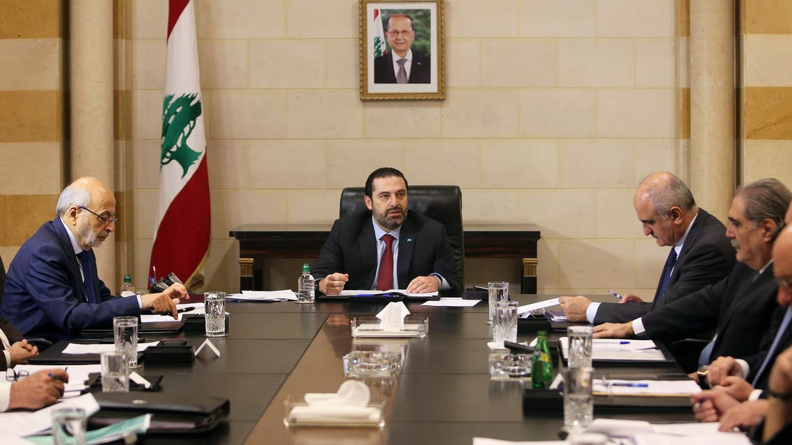 Lebanese Prime Minister Saad al-HarirI heads a meeting to discuss a draft policy statement at the governmental palace in Beirut, Lebanon February 6, 2019. REUTERS/Aziz Taher