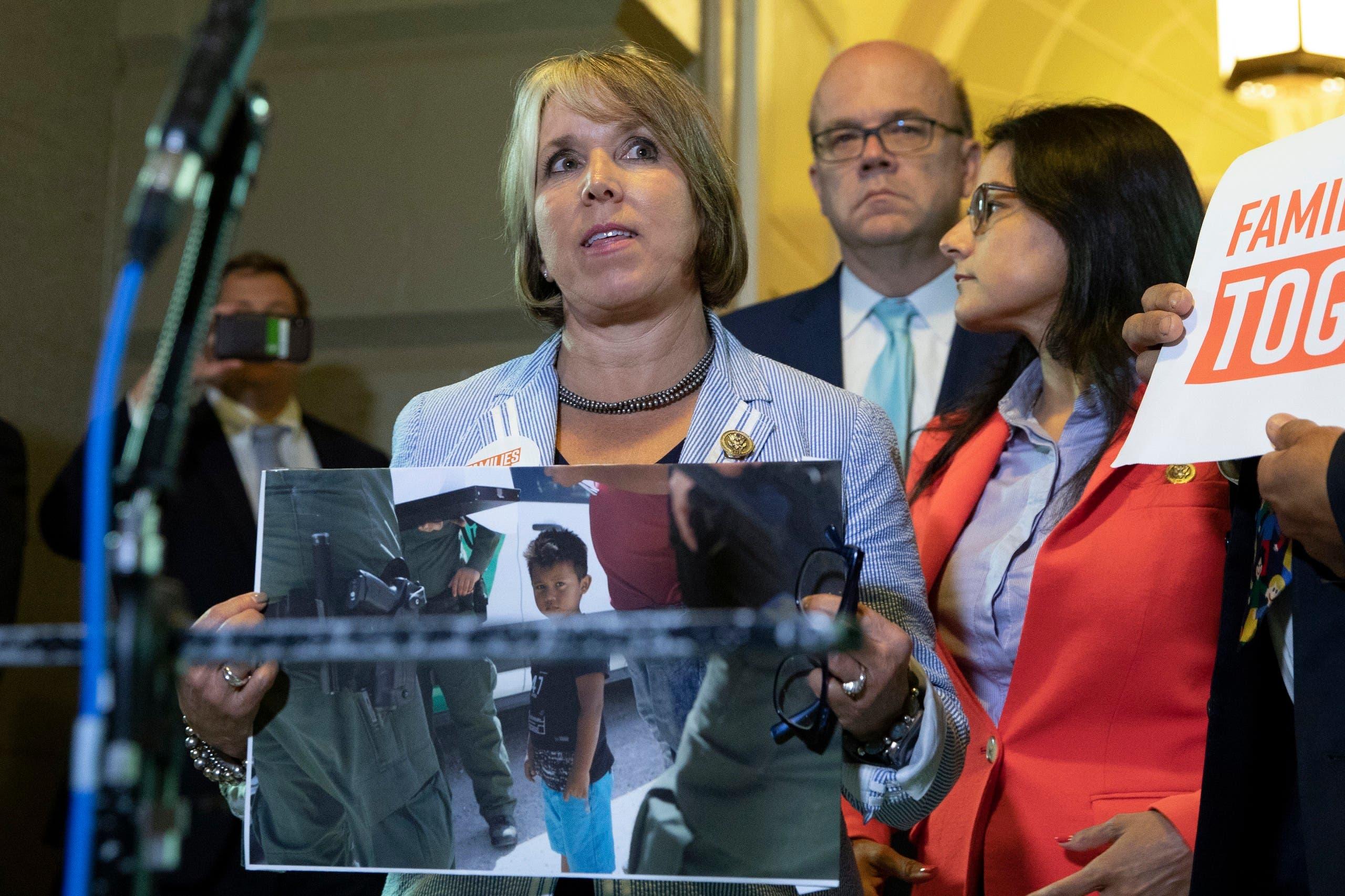 Michelle Lujan Grisham gives a speech. (File photo: AFP)