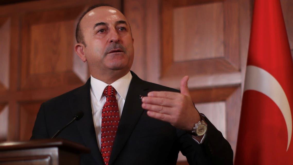 وزير الخارجية التركي مولود جاويش أوغلو خلال مؤتمر صحافي في أنقرة