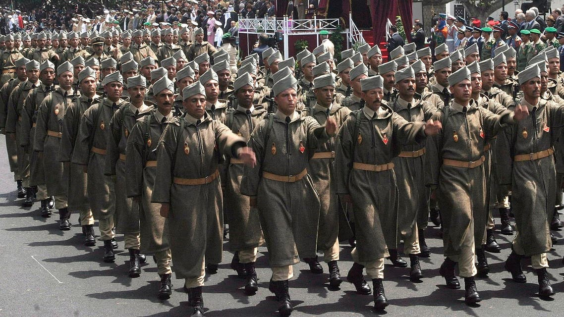 Moroccan soldiers parade during celebrations to mark the 50th anniversary of the Armed Forces on May 14, 2006. (AP)