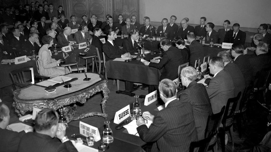 Representatives of the 19 European countries adhering to the Marshall plan attend a meeting on October 17, 1948, at the Chateau de la Muette in Paris. (AFP)