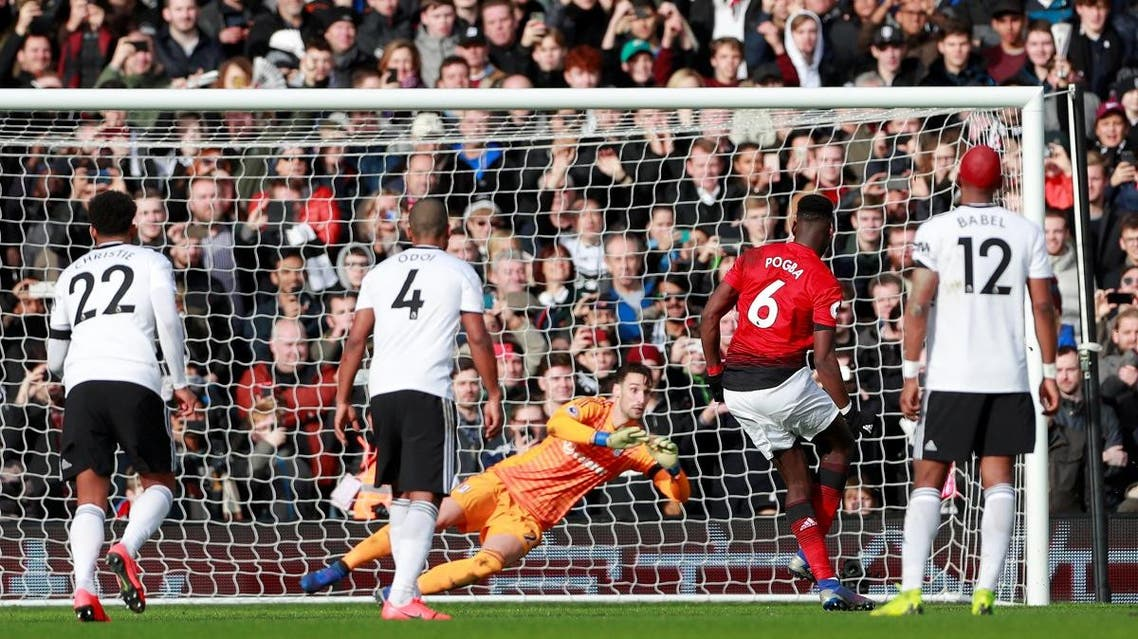 Manchester United's Paul Pogba scores their third goal from the penalty spot. (Reuters)