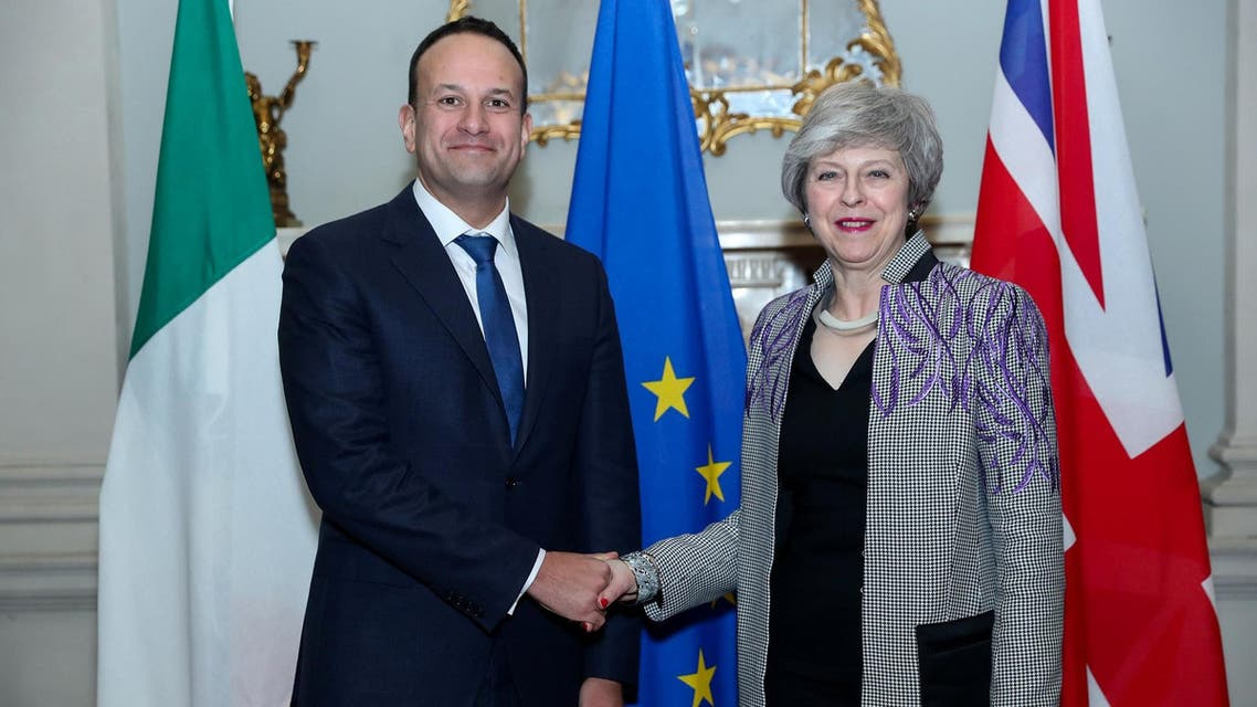 Britain's Prime Minister Theresa May with Irish Prime Minister Leo Varadkar at Farmleigh, the official Irish State guest house in Dublin, Ireland, on February 8, 2019. (Reuters)