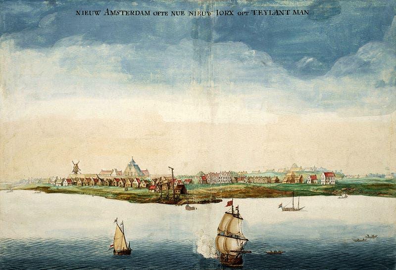 رسم تخيلي لأمستردام الجديدة سنة 1664 قبل فترة وجيزة من حصول البريطانيين عليها