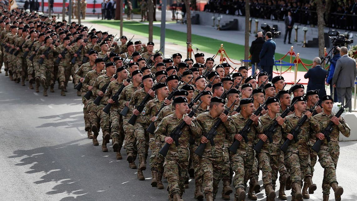 Lebanese army soldiers march during a military parade to mark the 74th anniversary of Lebanon's independence from France, on November 22, 2017. (File photo: AP)