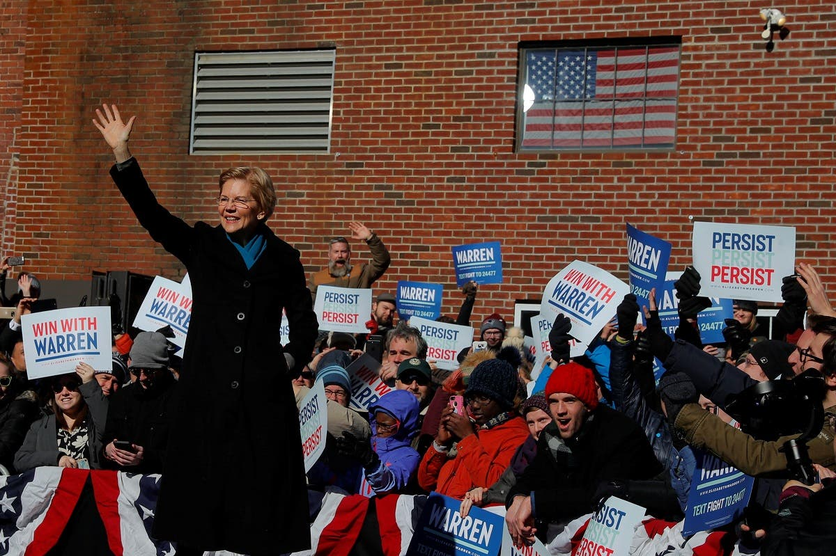 US Senator Elizabeth Warren (D-MA) takes the stage at a rally to launch her campaign for the 2020 Democratic presidential nomination in Lawrence, Massachusetts, US. (Reuters)