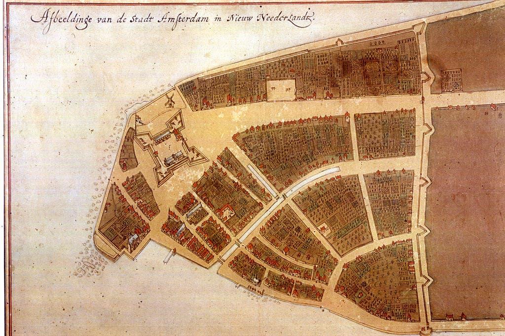 خريطة نيو أمستردام سنة 1660