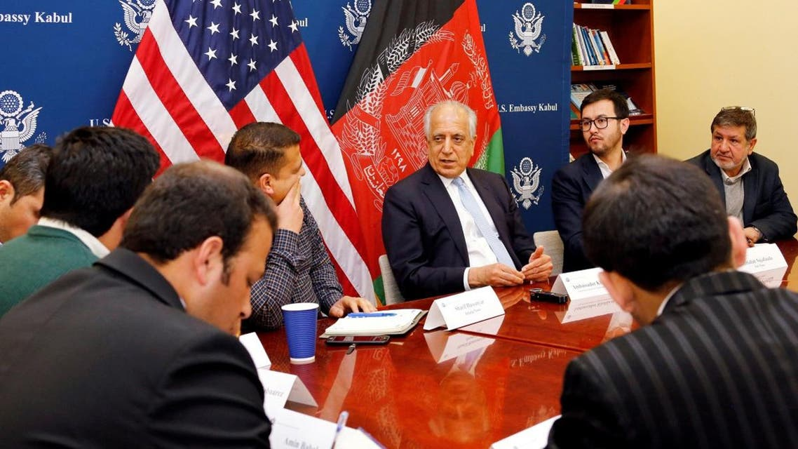 US special envoy for peace in Afghanistan, Zalmay Khalilzad, (C) speaks during a roundtable discussion with Afghan media at the US Embassy in Kabul, Afghanistan. (Reuters)