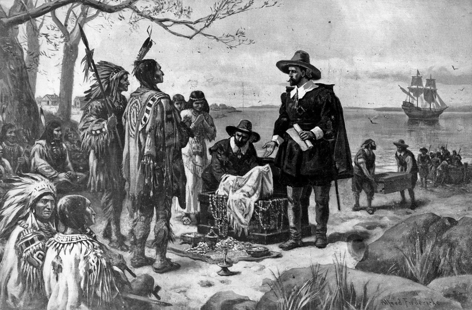 رسم تخيلي لبيتر مينويت خلال عملية شراء مانهاتن