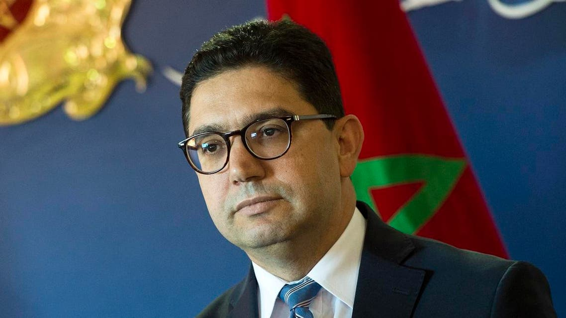 Nasser Bourita the Moroccan Minister of Foreign Affairs looks on as he speaks to the press after meeting with the United Nations special envoy for Libya on December 8, 2017, in Rabat. (AFP)