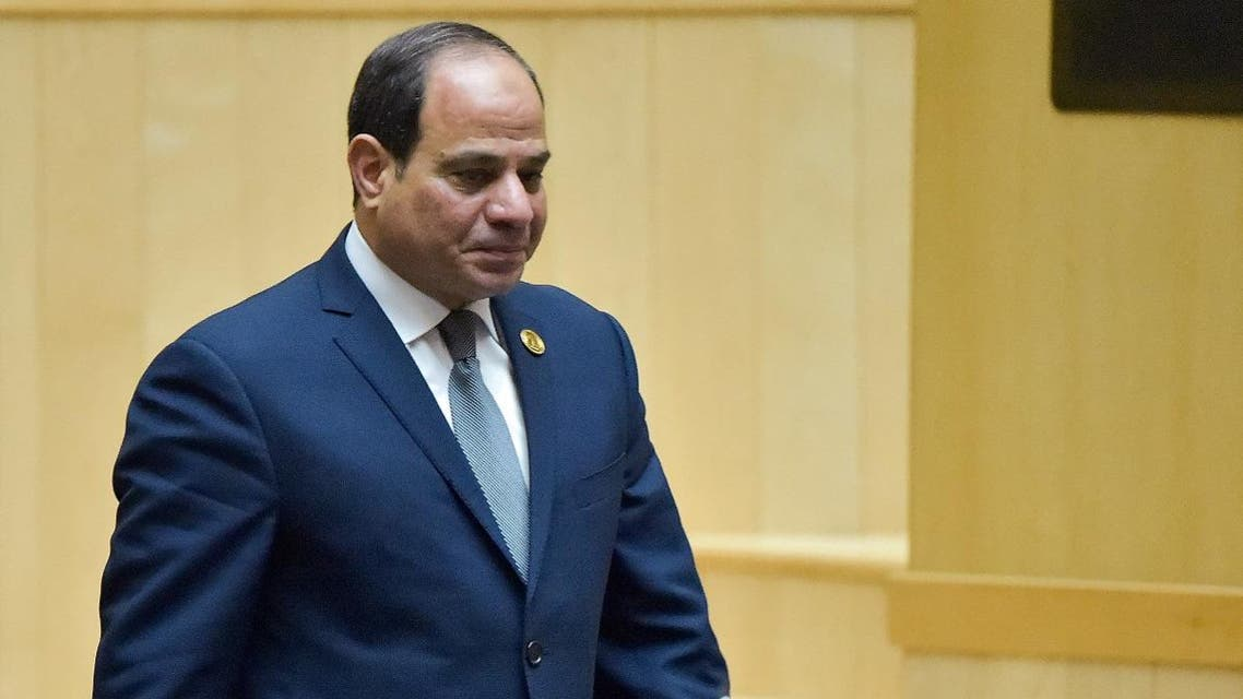Egyptian President and new African Union chairperson Abdel Fattah al-Sisi walks during the 32nd African Union (AU) during the 32nd African Union (AU) summit in Addis. (AFP)
