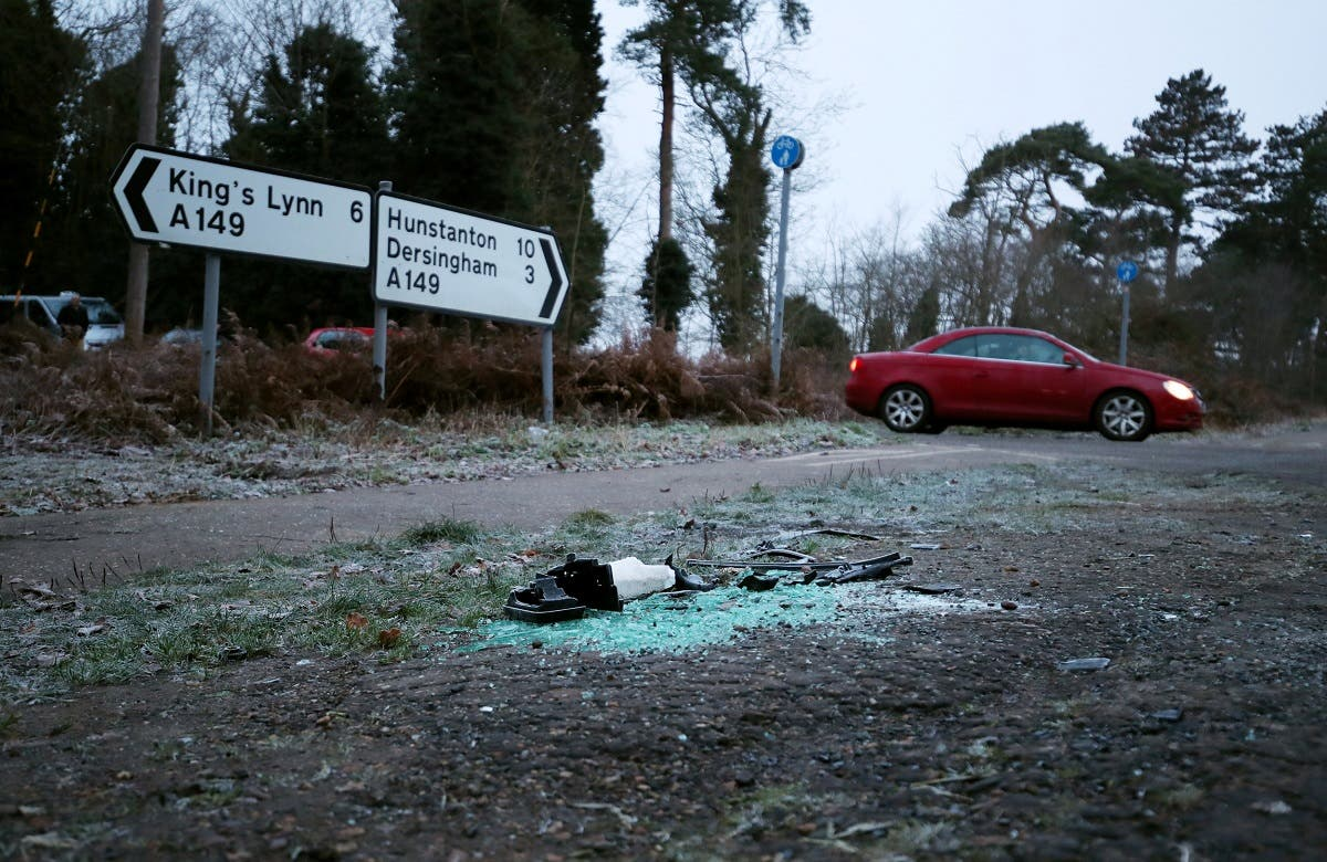 Debris is seen at the scene where Britain's Prince Philip was involved in a traffic accident, near the Sandringham estate in eastern England. (Reuters)