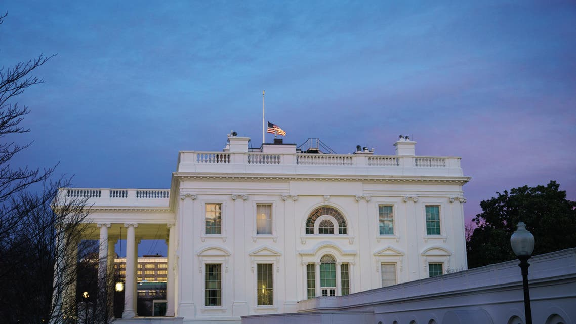 The White House is seen as the sun sets in Washington, DC on February 8, 2019.