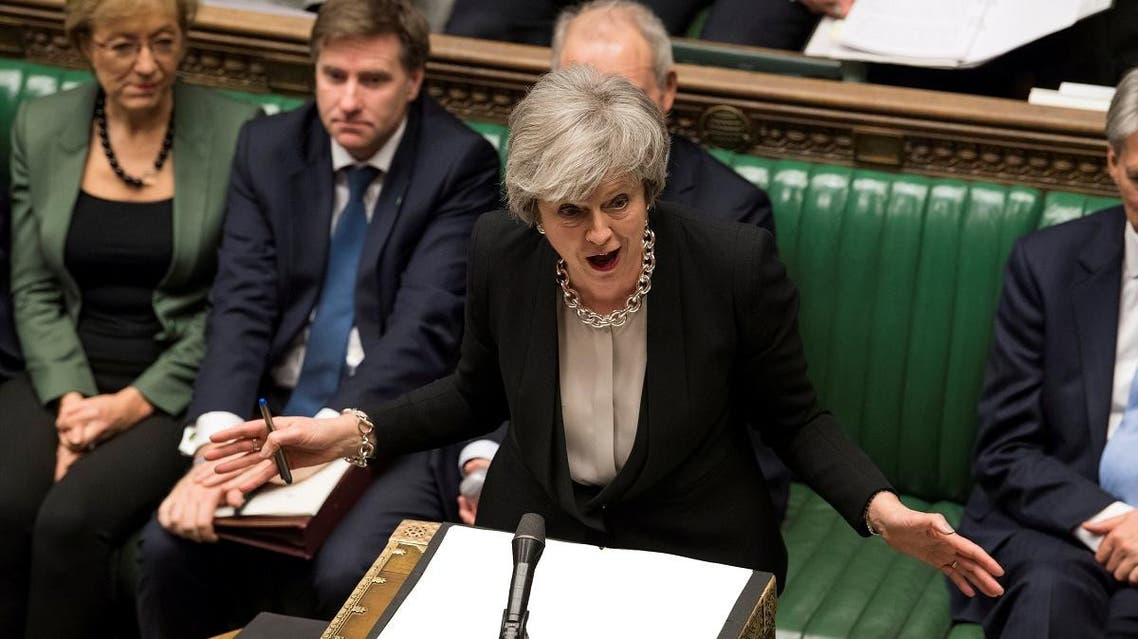 Britain's Prime Minister Theresa May speaks during a debate on her Brexit 'plan B' in Parliament, in London, Britain, January 29, 2019. (Reuters)