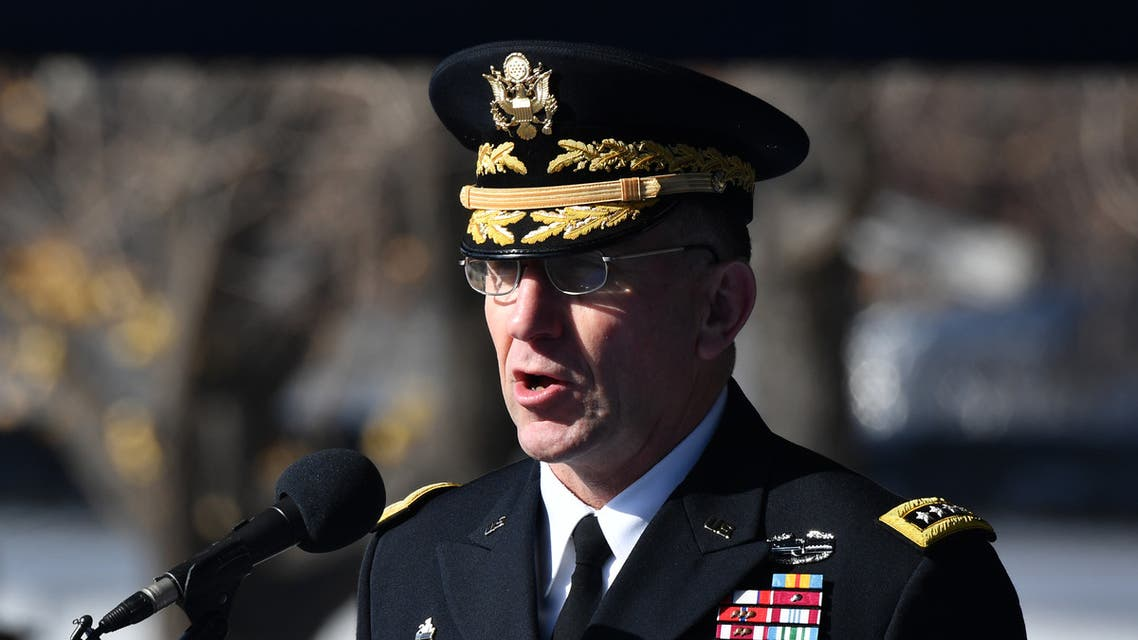 US General Robert B. Abrams, commander of the United Nations Command, US Forces Korea and Combined Forces Command, speaks during a repatriation ceremony for the remains of an unidentified Korean War UN forces soldier at a US Army base in Seoul on November 20, 2018. The remains were recovered from a hill in South Korea's Yanggu county in October of 2018.