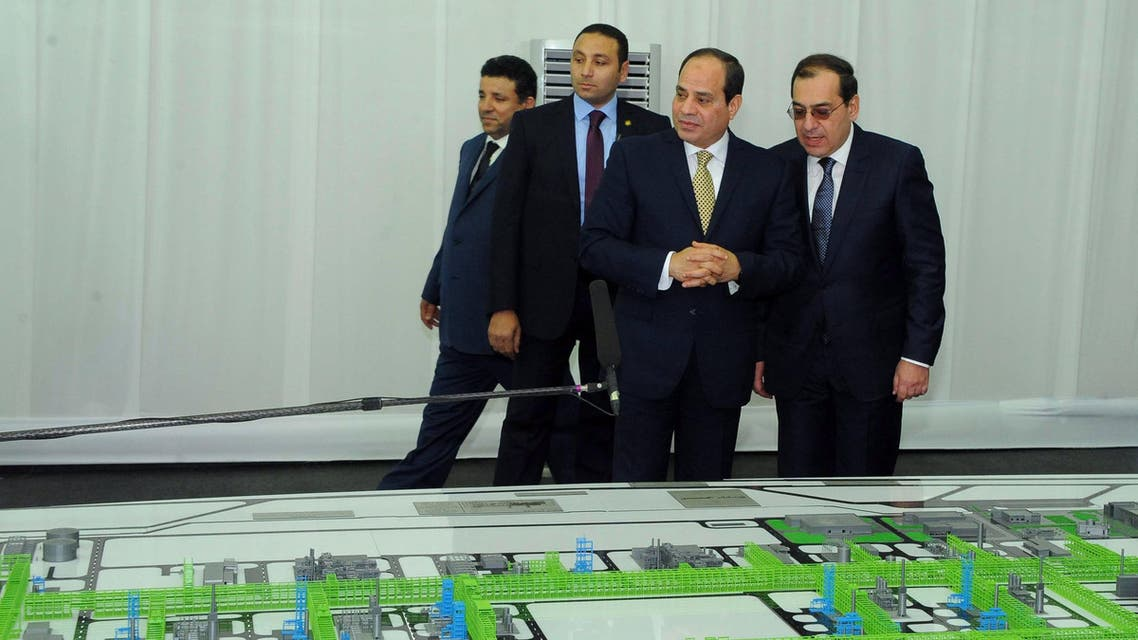 Egyptian President Abdel Fattah al-Sisi during the inauguration of Zohr gas field in Port Said on January 31, 2018. (AFP)