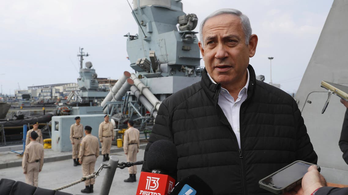 Israeli Prime Minister Benjamin Netanyahu gives a statement during his visit to a navy base in Haifa, Israel, February 12, 2019. Jack Guez/Pool via REUTERS