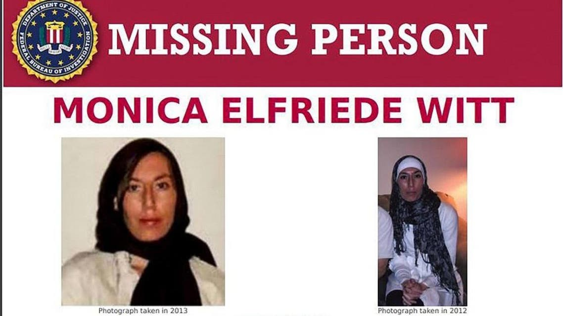 Image shows the Missing Person page of the FBI website for Monica Elfriede Witt. (AFP)