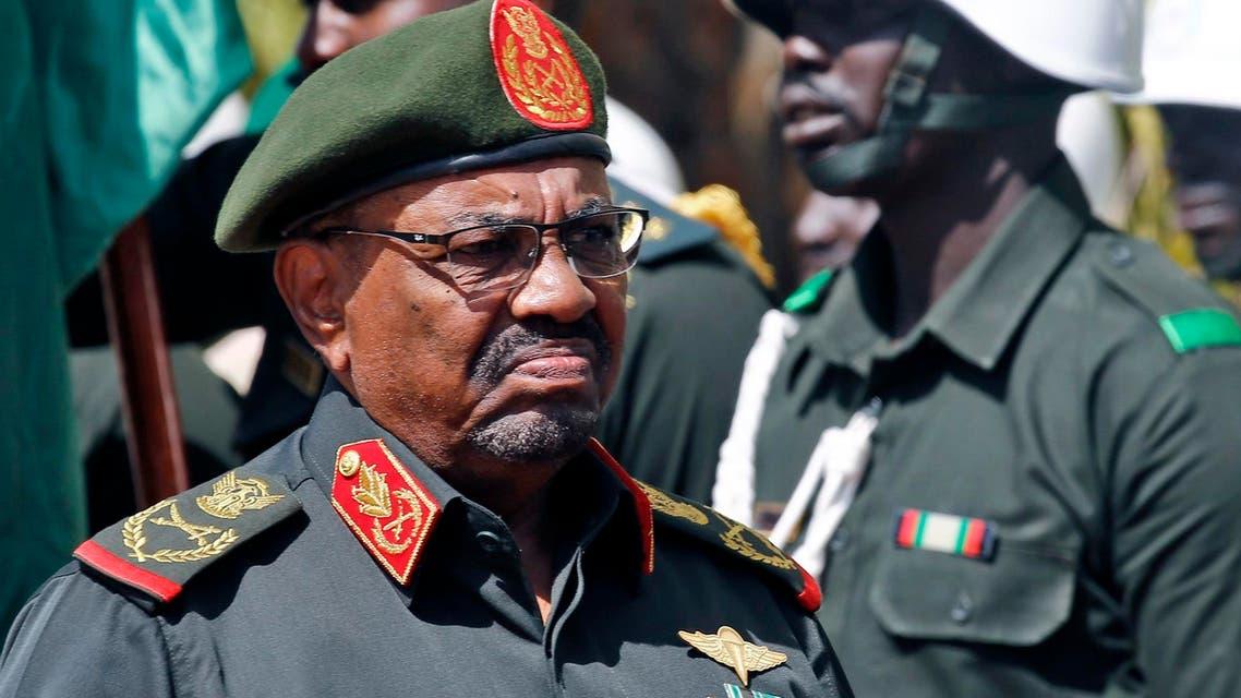 Omar al-Bashir arrives to address members of the PDF in the capital Khartoum on February 12, 2019. (AFP)