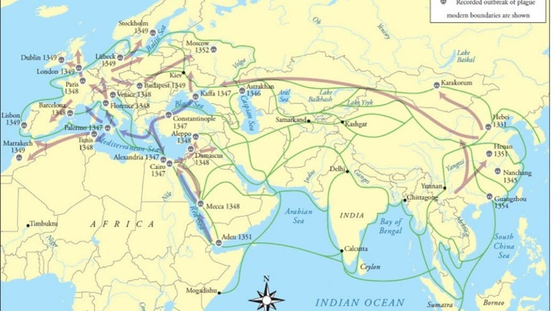 خريطة حول انتشار الطاعون الأسود بين مختلف المناطق بالقرن 14