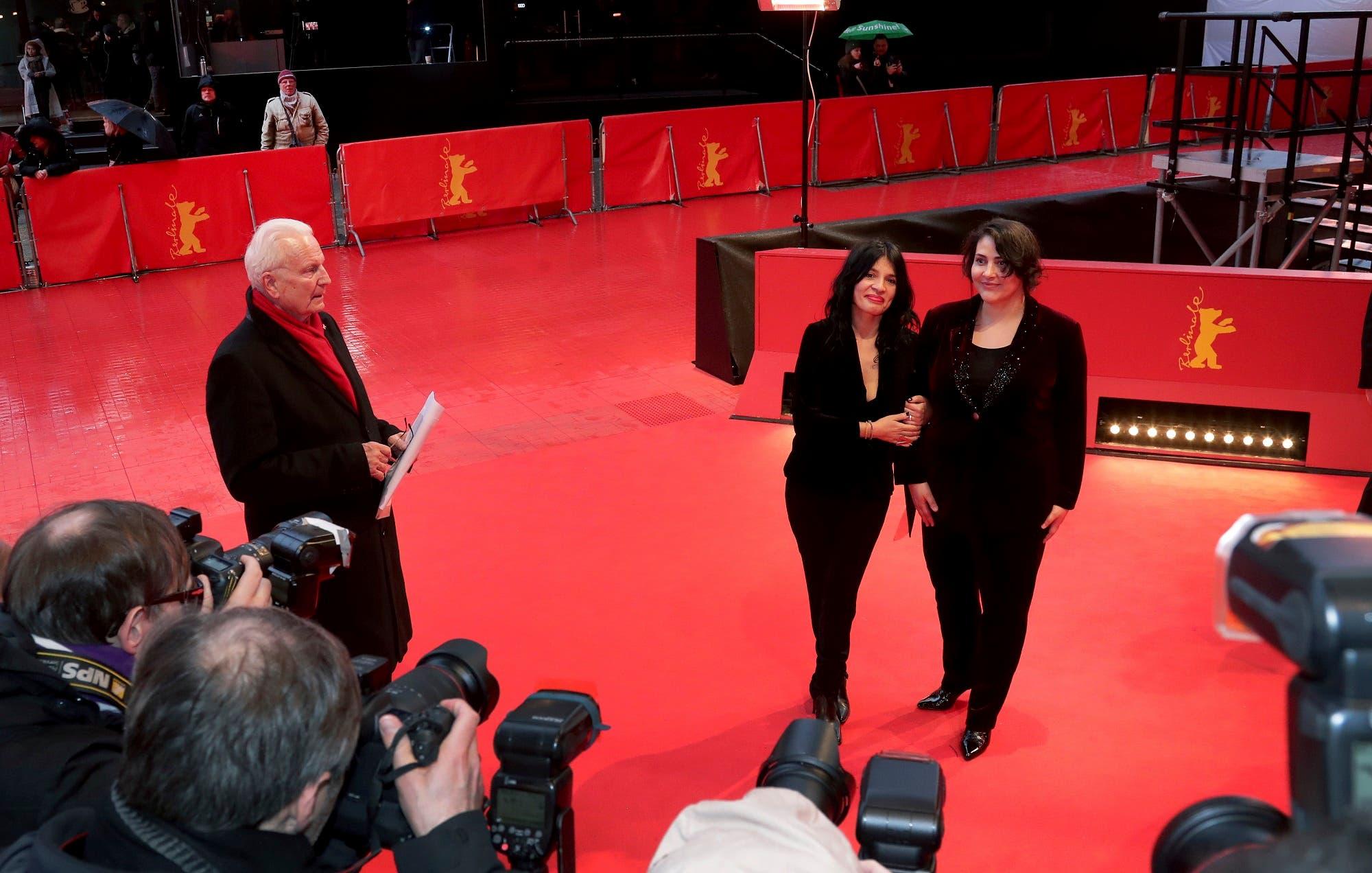 Director Teona Strugar Mitevska, left, and actress Zorica Nusheva, right, at the 2019 Berlinale Film Festival in Berlin. (AP)