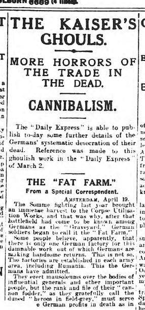 صورة لمقال بإحدى الصحف البريطانية حول مصنع الجثة الألماني وهي تشبه القيصر الألماني بالوحش
