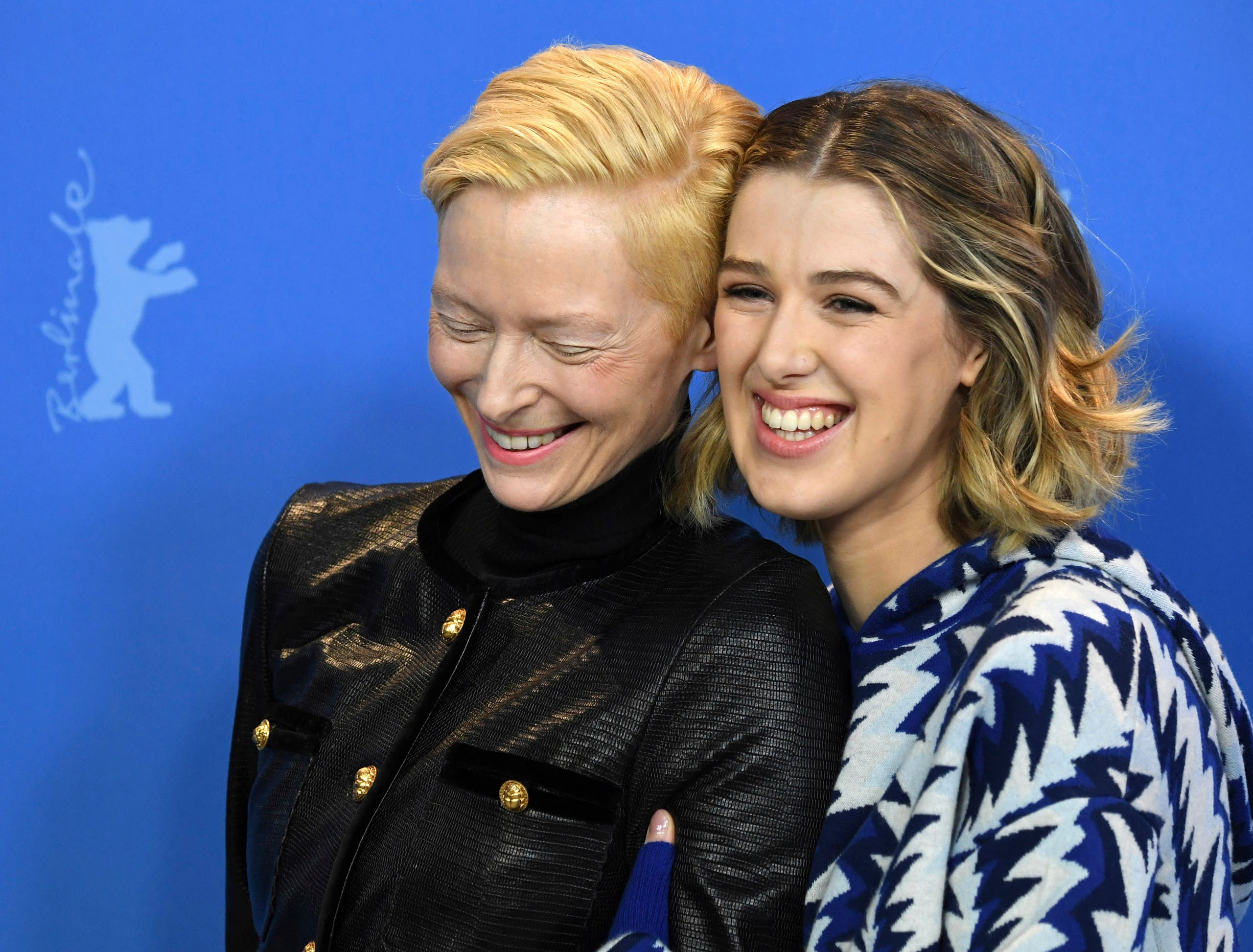 Actress Tilda Swinton, left, and actress Honor Swinton Byrne, right, at the 2019 Berlinale Film Festival in Berlin. (AP)