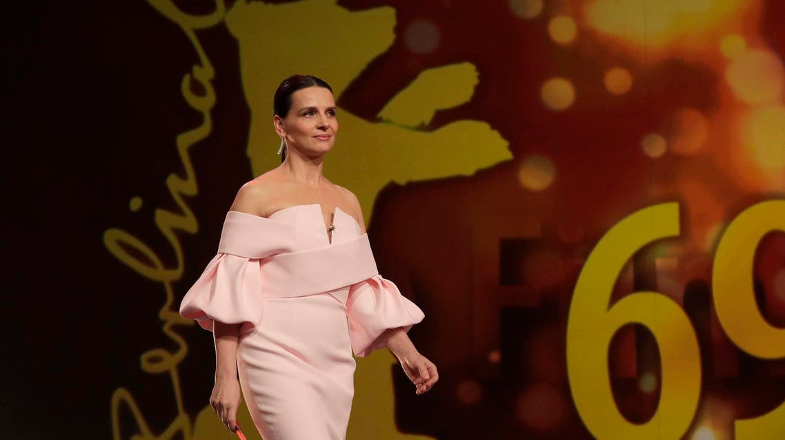 Actress and jury president Juliette Binoche walks onstage at the award ceremony of the 2019 Berlinale Film Festival in Berlin, Germany. (AP)