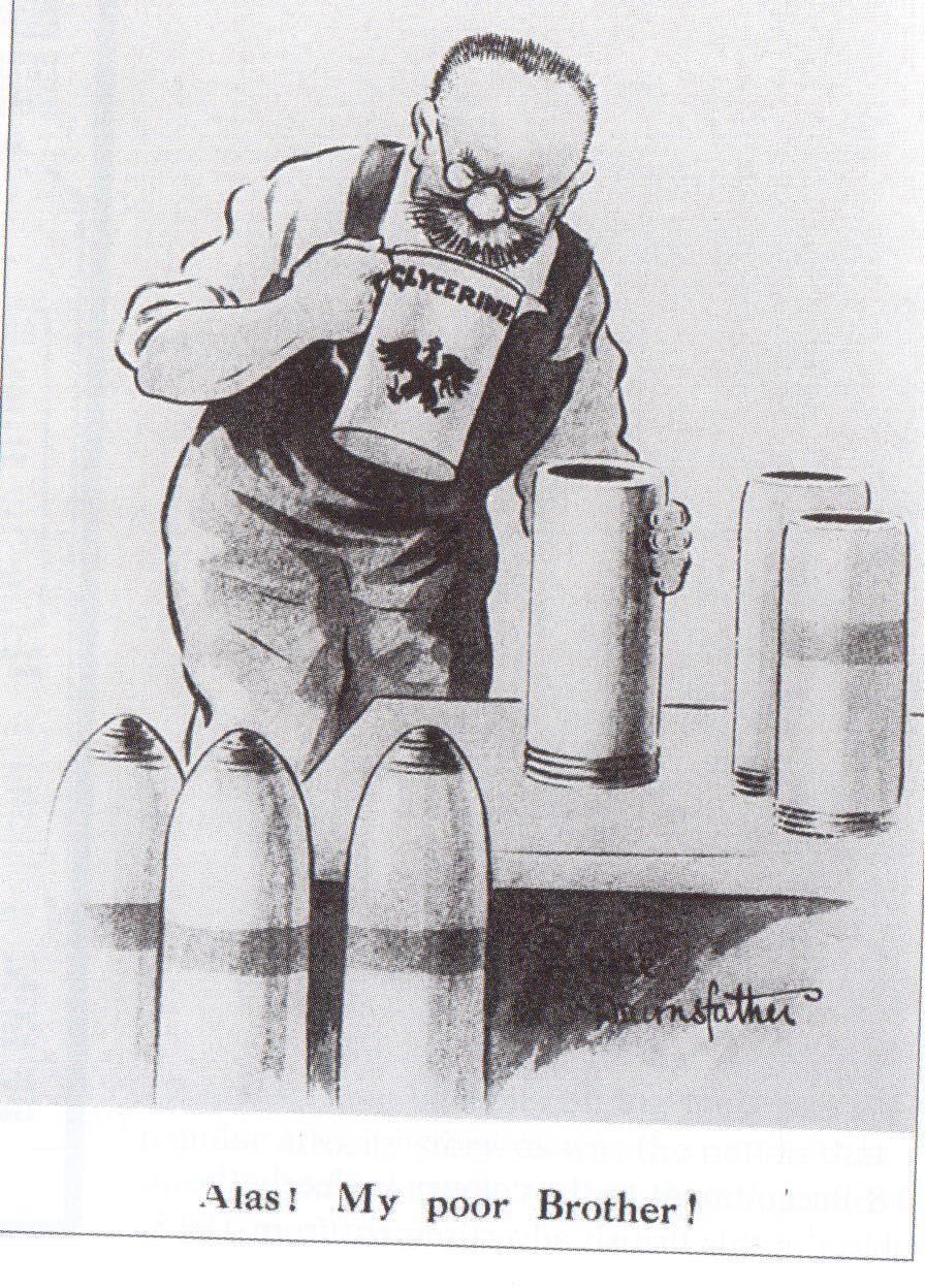 صورة دعائية بريطانية حول إقدام الألمان على استغلال جثث جنودهم بمصنع الجثة