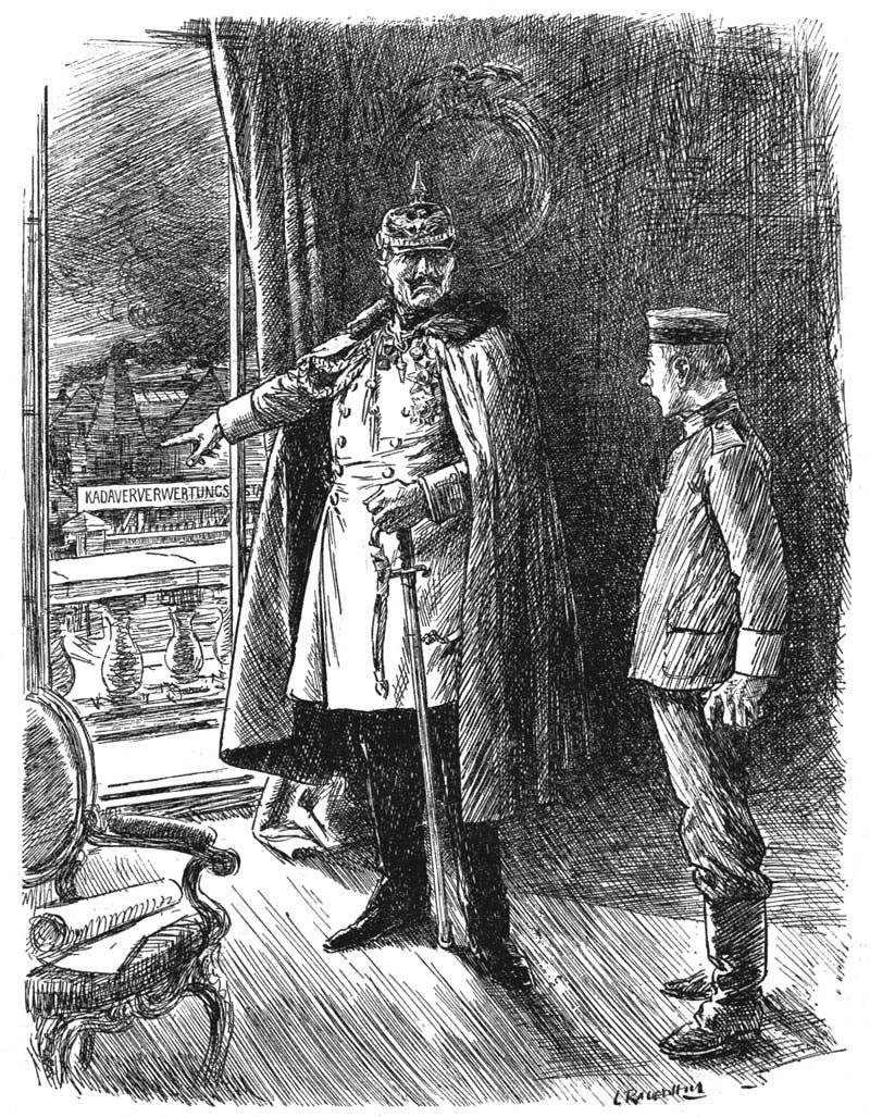 رسم كرتوني دعائي بعنوان القيصر سيجد طريقة لإستغلالك بشكل جيد يجسد القيصر الألماني فيلهلم الثاني وهي يشير إلى مصنع الجثة الألماني