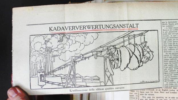 صورة دعائية ضد الألمان تجسد ارسال الجنود الموتى نحو مصنع الجثة الألماني
