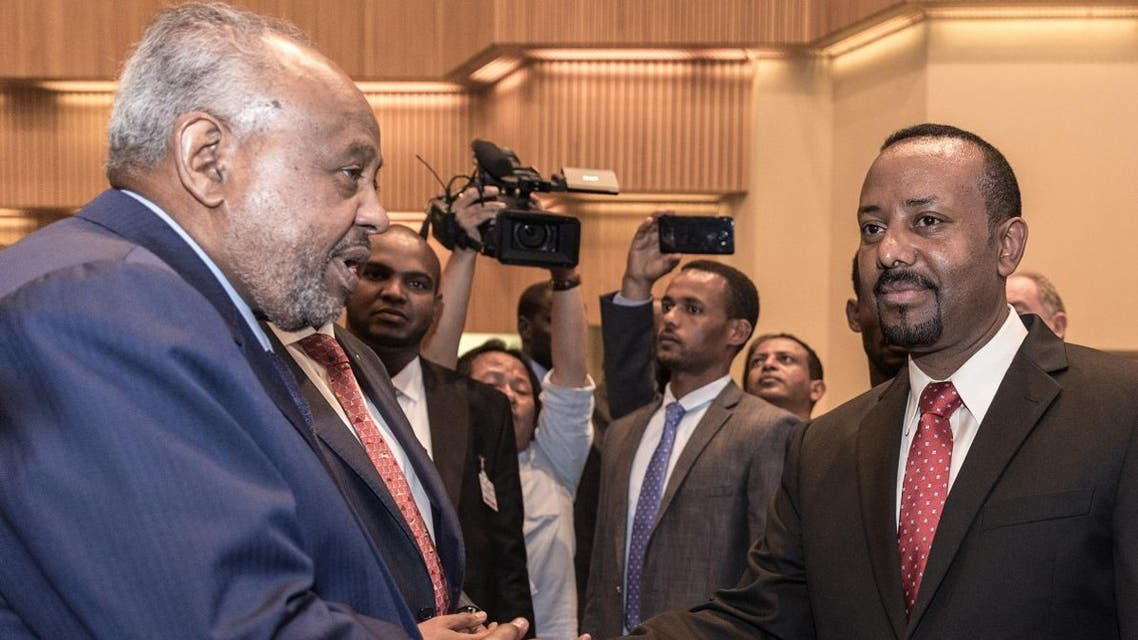 File photo of Ethiopia's Prime Minister Abiy Ahmed (R) with Djibouti's President Ismail Omar Guelleh (AFP)