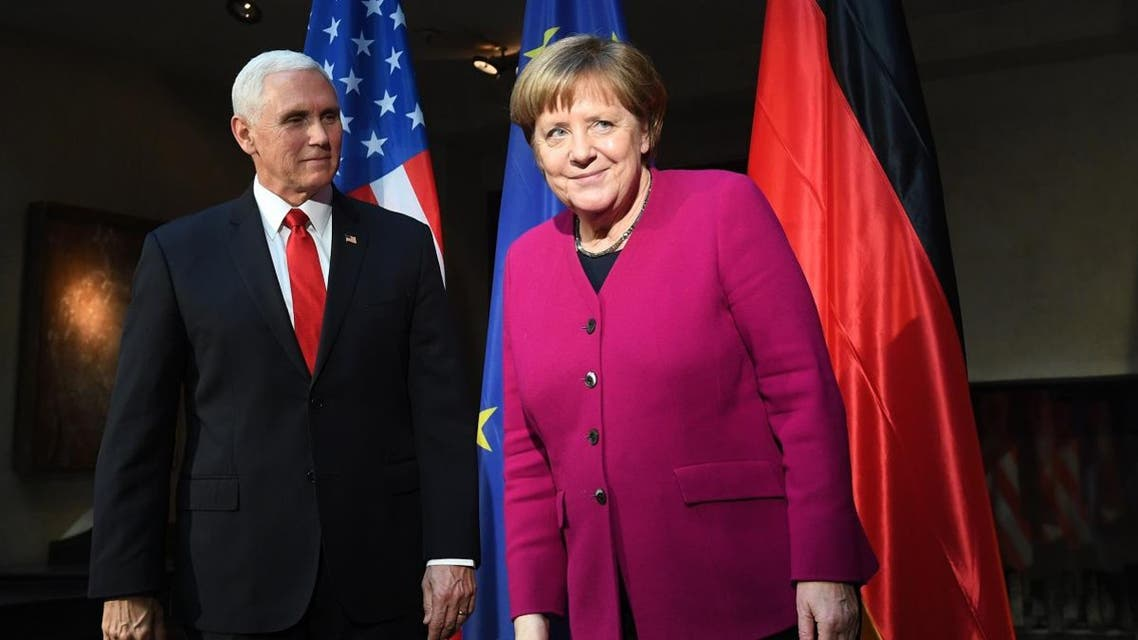Pence and Merkel at Munich Security Conference. (AFP)