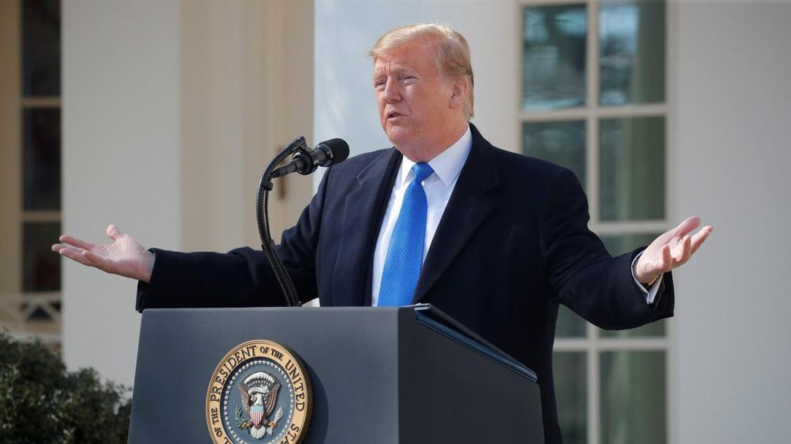US President Trump declares national emergency while speaking about southern border security at the White House in Washington. (Reuters)