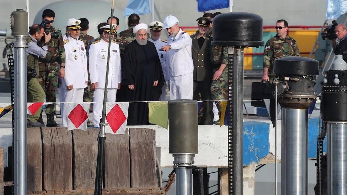 Iran's Hassan Rouhani sub marine Fateh (AFP)