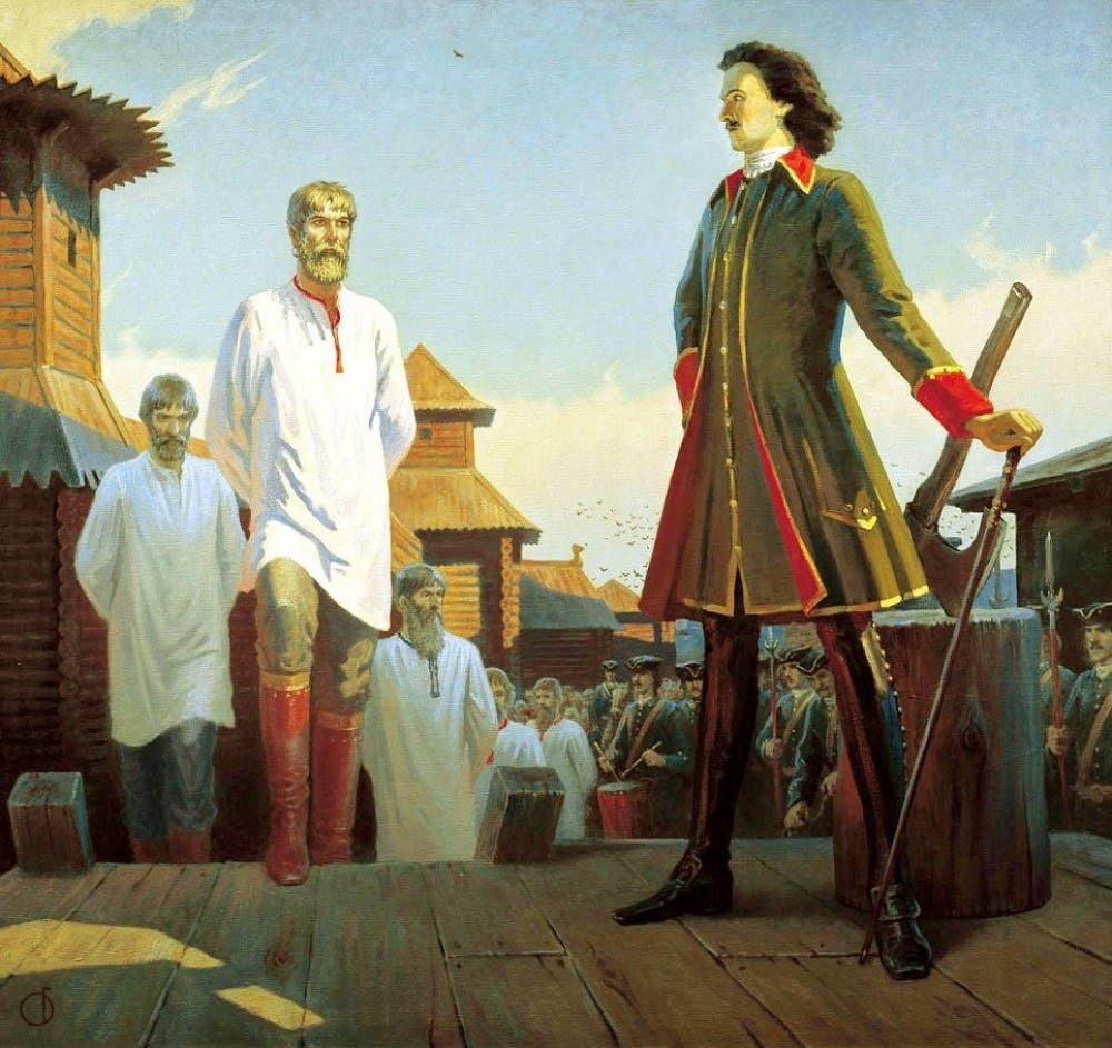 لوحة زيتية تجسد قيام بطرس الأكبر بإعدام عدد من أفراد قوات الستريلتسي