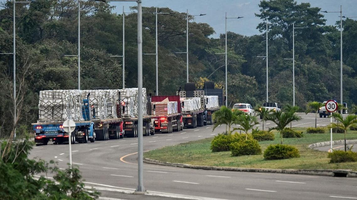 Trucks loaded with humanitarian aid for Venezuela (AFP)