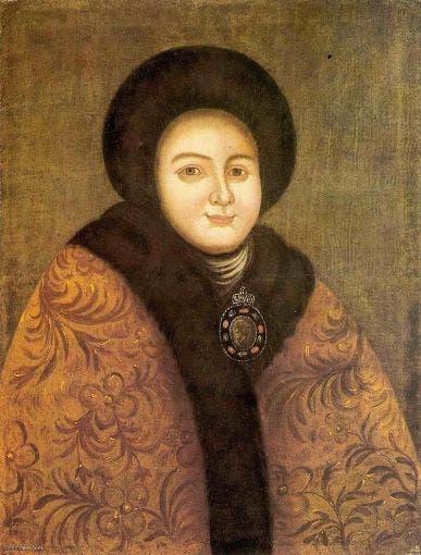 رسم تخيلي يجسد الزوجة الأولى لبطرس الأكبر إيدوكسيا لوبوكينا