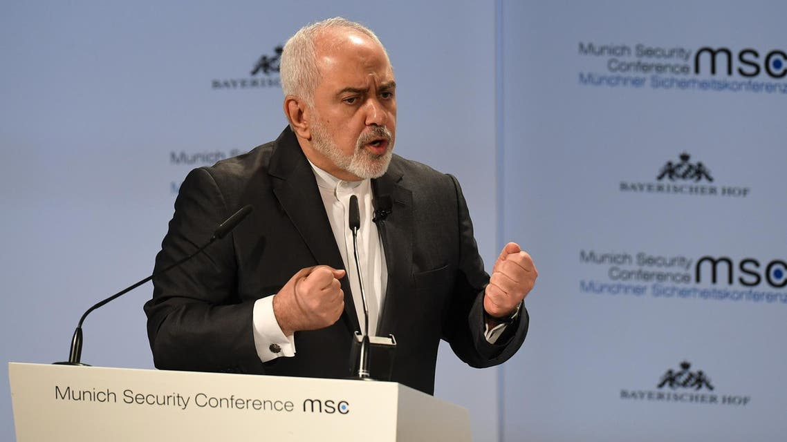 Iran's Foreign Minister Mohammad Javad Zarif delivers a speech during the 55th Munich Security Conference in Munich (AFP)