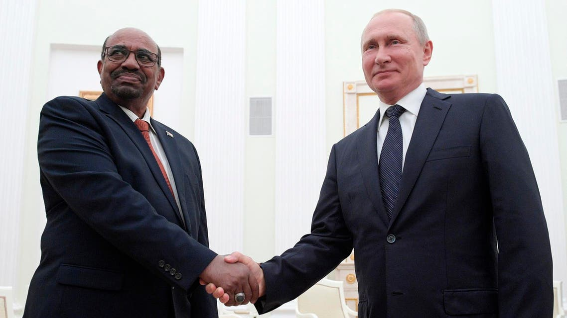 President Putin with Sudan's President Omar al-Bashir in Moscow on July 14, 2018. (AP)