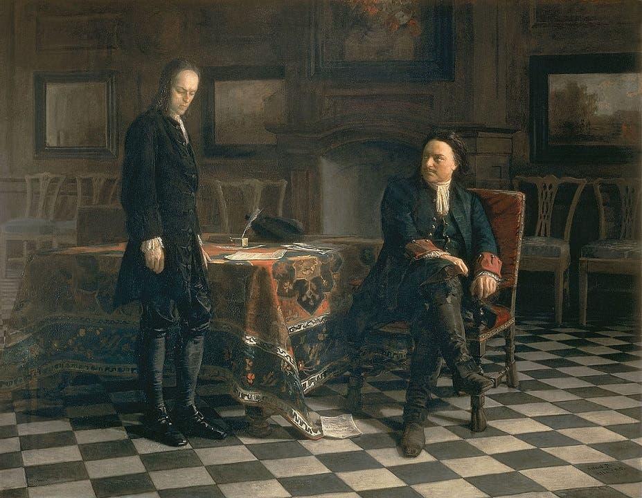 لوحة زيتية تجسد استجواب القيصر الروسي بطرس الأكبر لإبنه ألكسيي عقب عودته لروسيا