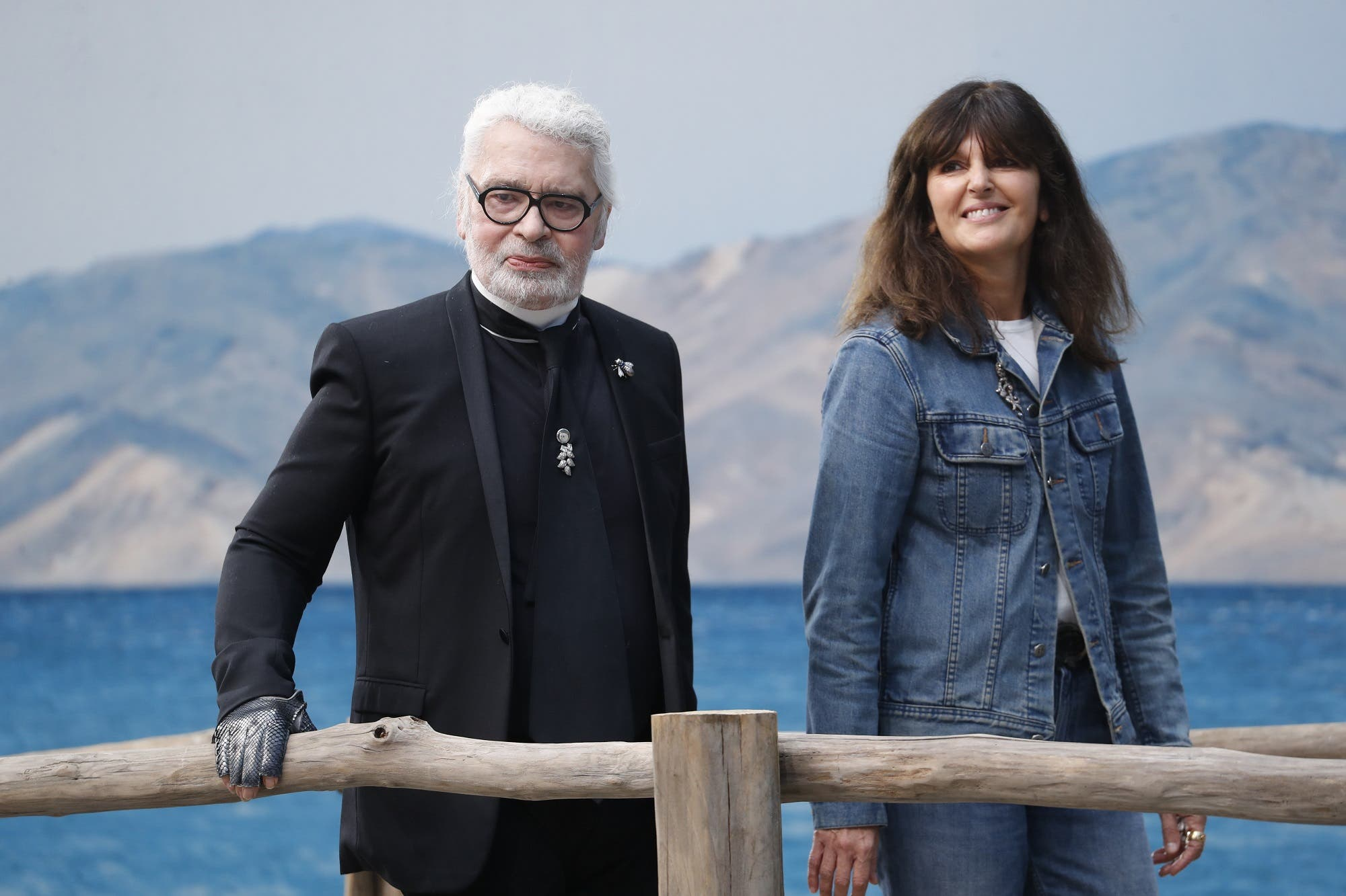 Karl Lagerfeld and Virginie Viard walks the runway after the Chanel show on October 2, 2018 in Paris, France. (Shutterstock)