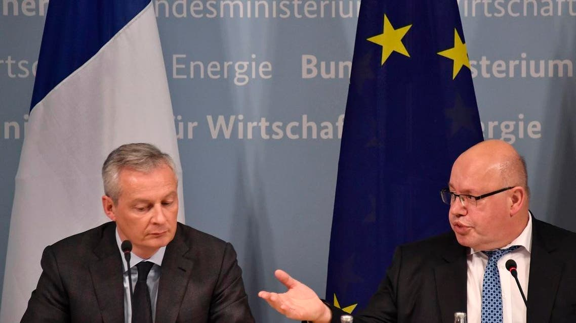 German Economy Minister Peter Altmaier (R) and his French counterpart Bruno Le Maire give a press conference on February 19, 2019 in Berlin, following talks on EU industrial policy. (AFP)